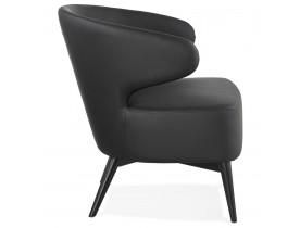 Lounge chair 'NORMAN' zwart en poten in zwart hout