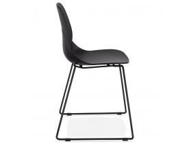 Zwarte design stoel 'NUMERIK' met poten van zwart metaal