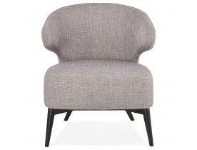 Lounge stoel 'ODILE' met grijze stof en zwarte houten poten