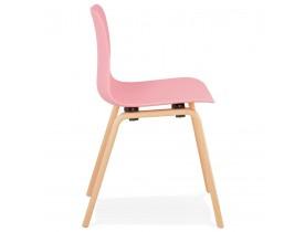 Scandinavische stoel 'PACIFIK' roze met natuurlijk houten poten