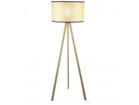 Driepoot vloerlamp 'RITA' met rotan en drie natuurkleurige houten poten