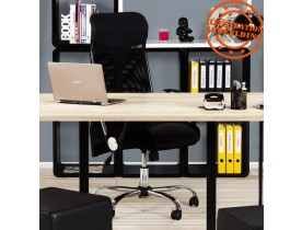 Moderne zwarte bureaustoel 'ROMA' uit imitatieleder en gaas