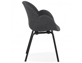 Design stoel met armleuningen 'SAMY' van grijze stof en zwart houten poten