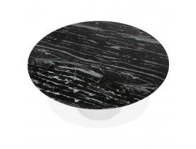 Ronde eettafel 'SHADOW' van zwart glas met marmereffect en centrale witte poot - Ø 140 cm