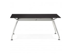 Recht modern bureau 'STATION' met een zwart, glazen tafelblad - 160x80 cm