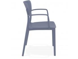 Geperforeerde stoel met armleuningen 'TORINA' van donkergrijze kunststof