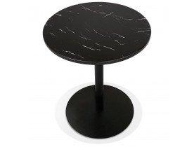 Rond bistrotafeltje 'TOMY' van zwart marmer en zwart metaal - Ø 60 cm