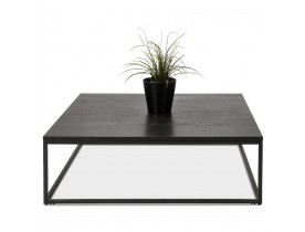 Zwarte, grote industriële salontafel 'TRIBECA' van hout en metaal