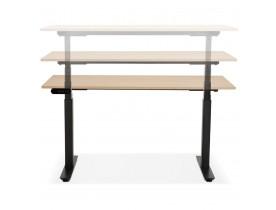 Zwarte elektrische zit/sta-bureau 'TRONIK' met blad in natuurlijke houtafwerking - 140x70 cm