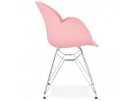Moderne stoel 'UNAMI' van roze kunststof met verchroomd metalen voeten