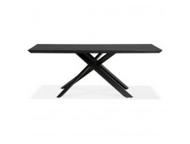 Design eettafel met x-vormige centrale voet 'WALABY' van zwarte hout - 200x100 cm