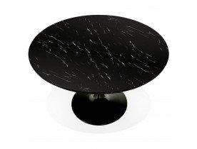 Ronde eettafel 'WITNEY' van zwart marmer en zwart metaal - Ø 120 cm