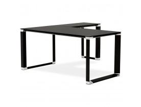 Design hoekbureau 'XLINE' van zwart glas (hoek naar keuze)