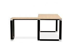Design hoekbureau 'XLINE' met natuurlijke houten afwerking en zwart metaal