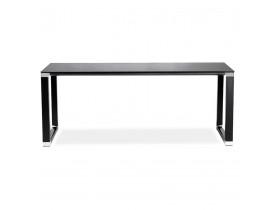 Groot recht directiebureau 'XLINE' van zwart glas - 200x100 cm