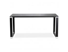 Klein recht designbureau 'XLINE' uit zwart glas - 140x70 cm