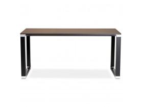 Recht design bureau 'XLINE' met notenhouten afwerking en zwart metaal - 160x80 cm