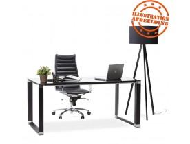 Design recht directiebureau 'XLINE' van zwart glas - 160x80 cm