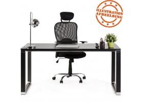 Klein recht directiebureau 'XLINE' in zwart hout - 140x70 cm