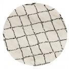 Wit rond Berbers tapijt 'BERAN' met zwarte motieven - Ø 160 cm