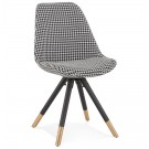 Design stoel 'HAMILTON' in pied-de-poule-print stof en poten in zwart hout