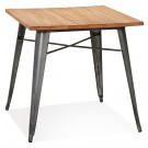 Vierkante industriële tafel 'MARCUS' van donker hout met donkergrijze metalen poten - 76 x 76 cm