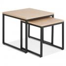 Set van twee industriële bijzettafels 'MOMA' van natuurlijk afgewerkt hout en zwart metaal