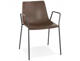 Bruine design stoel met armleuningen 'BILL'