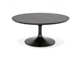 Ronde salontafel 'BUSTER MINI' van zwarte hout en zwarte metalen poot  - Ø 90 cm
