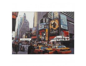 Designschilderij 'BUSY' time square New York op bedrukt doek 120x80 cm