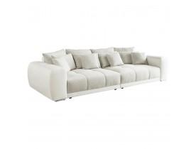 Grote, rechte zitbank 'BYOUTY' wit en grijs met 4 zitplaatsen in imitatieleer en chenille stof