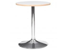 Wit bijzettafeltje 'CASTO ROUND' met verchroomde poot - HoReCa tafel Ø 60 cm