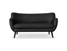 Rechte zitbank 3 zitplaatsen 'COLETTE' van zwart synthetisch materiaal