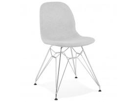 Designstoel 'DECLIK' in lichtgrijze stof met verchroomd metalen onderstel
