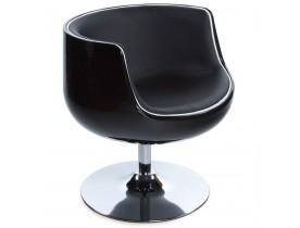 Bolvormige, draaibare design zetel 'DEKO' uit zwart imitatieleder met zwarte zitschaal