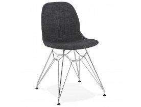 Design stoel 'DECLIK' donkergrijs met verchroomde metalen poten