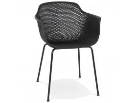 Zwarte geperforeerde stoel met armleuningen 'DRAK' binnen/buiten
