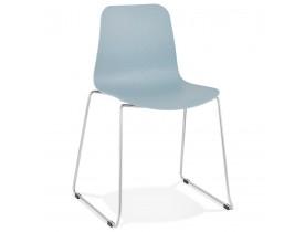Moderne stoel 'EXPO' van blauw kunststof met verchroomd metalen voeten