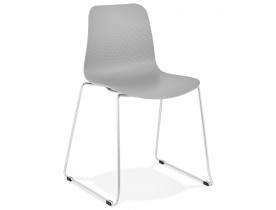 Moderne stoel 'EXPO' van grijs kunststof met verchroomd metalen voeten