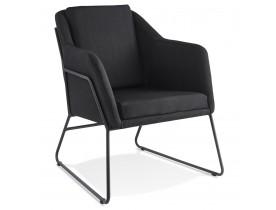 Design loungefauteuil 'FABIO' van zwarte stof