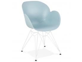 Moderne stoel 'FIDJI' blauw met wit metalen voet