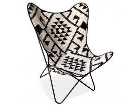 Fauteuil papillon 'FOX' en coton blanc et motifs noirs
