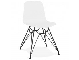 Design stoel 'GAUDY' wit industriële stijl met zwart metalen voet
