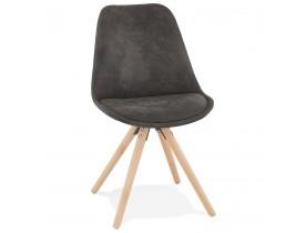 Comfortabele stoel 'HARRY' van grijze microvezel en poten van natuurlijk hout