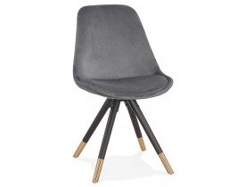 Design stoel 'HAMILTON' in grijs fluweel en poten in zwart hout