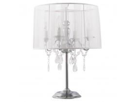Witte, barok bedlamp 'KLASSIK' in de vorm van een kandelaar, met passementstrookjes