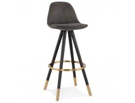 Design barkruk 'KONG' van grijze microvezel en zwarte houten poten