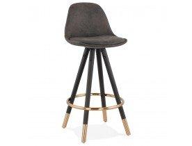 Halfhoge design kruk 'KONG MINI' van grijze microvezel en zwarte houten poten