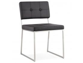 Gecapitonneerde stoel 'LEON' in zwart kunstleder