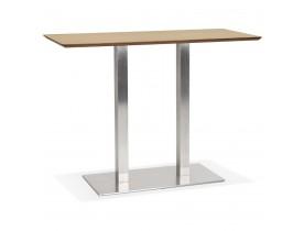 Hoge design tafel 'MAMBO BAR' van natuurlijk afgewerkt hout met geborsteld metalen poot - 150x70 cm